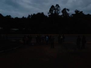 Dawn crowds awaiting the bus